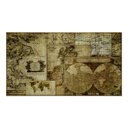 Vintage old world Maps Poster Zazzle