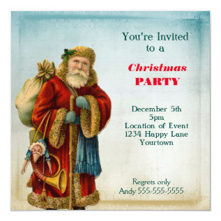 Vintage Old World  Santa Christmas Party Card at Zazzle