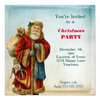 Vintage Old World  Santa Christmas Party Card