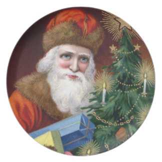Vintage Old World Santa Claus Christmas Plate