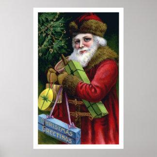 Vintage Old World Santa Claus Christmas Print