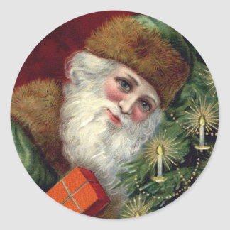 Vintage Old World Santa Claus Green Christmas Classic Round Sticker