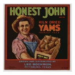 Vintage Old Yams Fruit Crate Labels Poster
