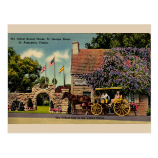 Vintage Oldest School House St. Augustine Postcard