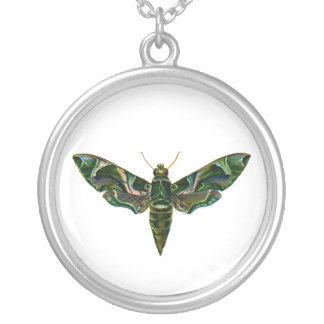 Vintage Oleander Hawk-moth Round Pendant Necklace