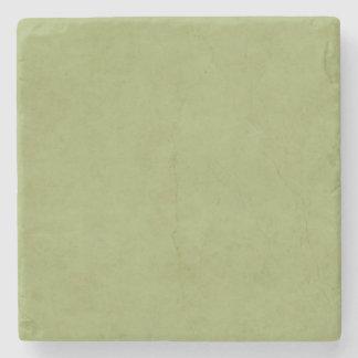 Vintage Olive Green Paper Parchment Background Stone Coaster