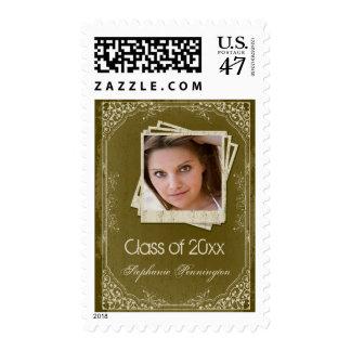 Vintage olive scrolls graduation photo stamps