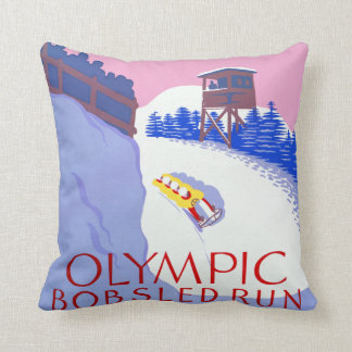 Vintage Olympic Bobsled Run Lake Placid Throw Pillow