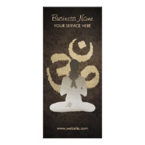 Vintage Om Sign Damask Background Yoga Rack Card
