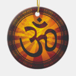 Vintage Om Symbol Double-Sided Ceramic Round Christmas Ornament