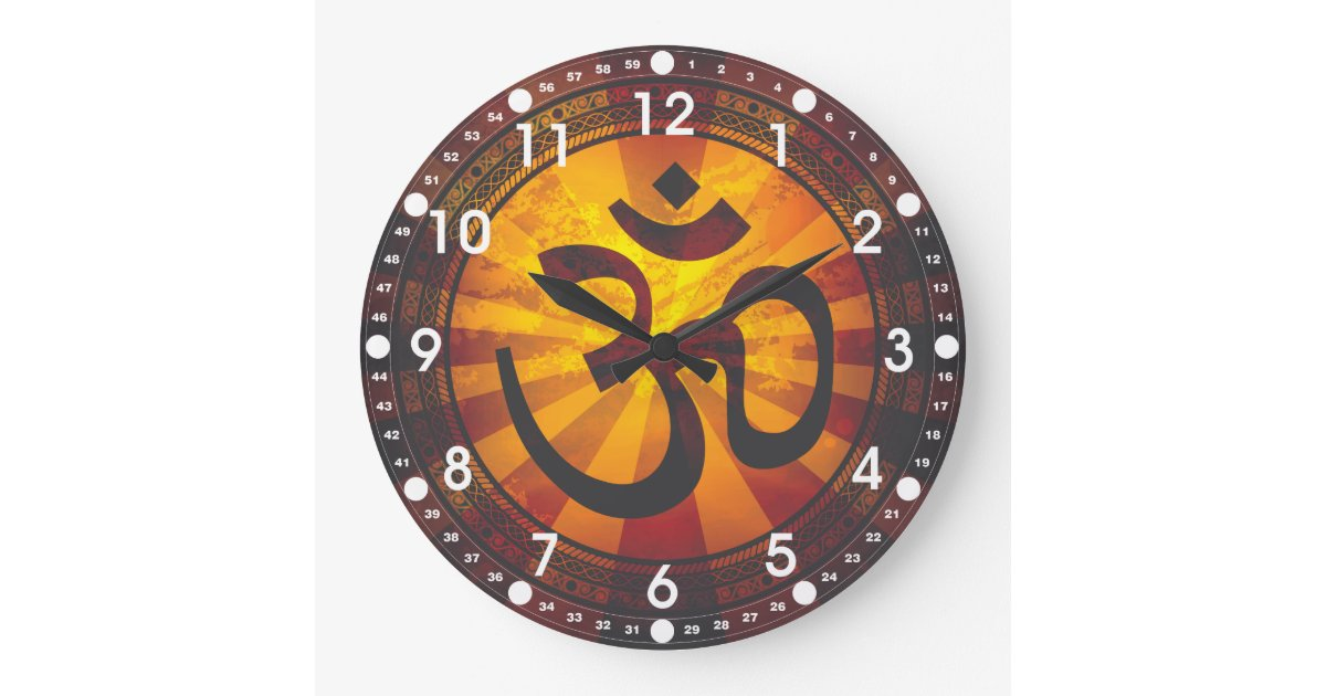 Vintage Om Symbol Large Clock Zazzle Com