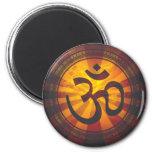 Vintage Om Symbol Print 2 Inch Round Magnet