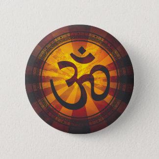 Vintage Om Symbol Print Button
