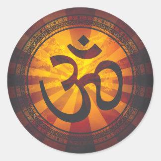 Vintage Om Symbol Print Classic Round Sticker