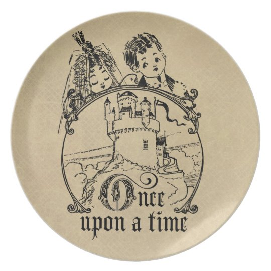 Vintage Once Upon a Time Apparel, Decor, and Gifts Melamine Plate