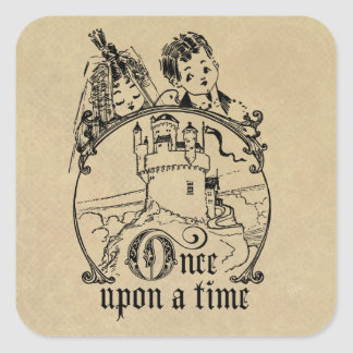 Vintage Once Upon a Time Apparel, Decor, and Gifts Square Sticker