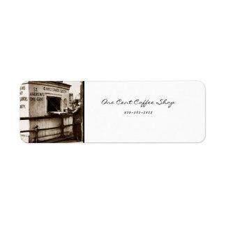 Vintage One Cent Coffee Sign Return Address Label