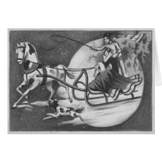 Vintage One-Horse Open Sleigh Racing Drawing Card