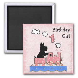Vintage One Year Old Birthday Girl Square Magnet