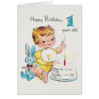 Vintage One Year Old Birthday Greeting Card