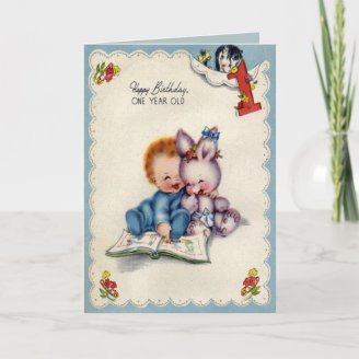 Vintage One Year Old Boy Birthday Card from FlippinSwee