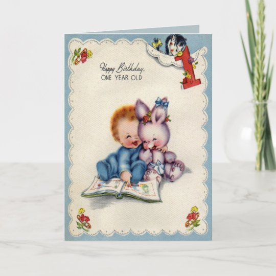 Vintage One Year Old Boy Birthday Card Zazzle