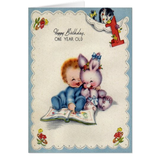 Vintage One Year Old Boy Birthday Card – Boy Birthday Cards