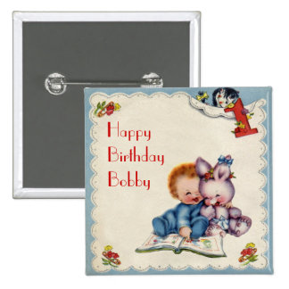 Vintage One Year Old Boy Square Button