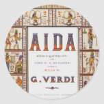 Vintage Opera Music, Egyptian Aida by Verdi Classic Round Sticker