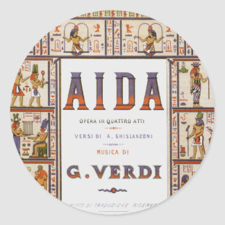 Vintage Opera Music, Egyptian Aida by Verdi Classic Round Sticker