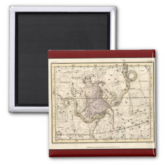 Vintage Ophiuchus Constellation Zodiac 2 Inch Square Magnet