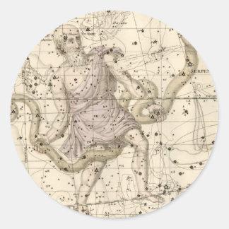 Vintage Ophiuchus Constellation Zodiac Classic Round Sticker