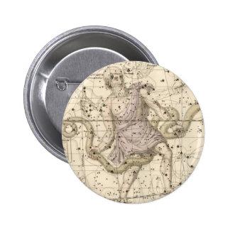 Vintage Ophiuchus Constellation Zodiac Pinback Button