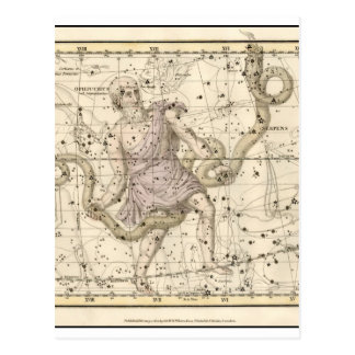 Vintage Ophiuchus Constellation Zodiac Postcard