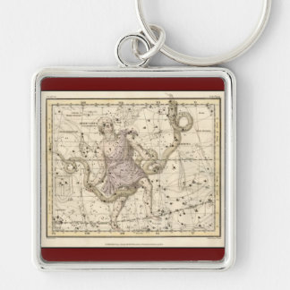 Vintage Ophiuchus Constellation Zodiac Silver-Colored Square Keychain