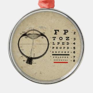 Vintage Ophthalmologist Optometry Eye Chart Metal Ornament
