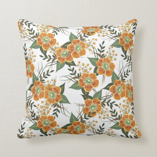 Vintage Orange and Green Floral Baroque Throw Pillow