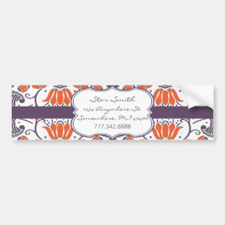 Vintage Orange and Purple Floral BumperSticker Bumper Sticker