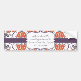 Vintage Orange and Purple Floral BumperSticker Bumper Sticker