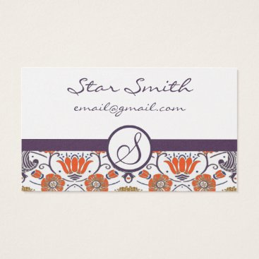 Professional Business Vintage Orange and Purple Swirly Floral Pattern Business Card