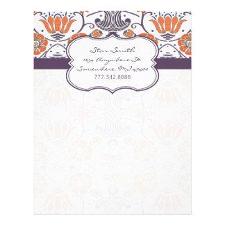 Vintage Orange and Purple Swirly Floral Pattern Letterhead