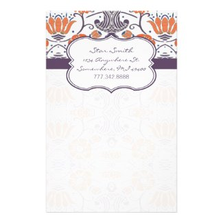 Vintage Orange and Purple Swirly Floral Stationery