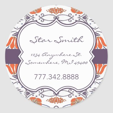 Professional Business Vintage Orange and Purple Swirly Floral Stickers
