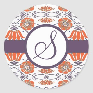 Vintage Orange and Purple Swirly Floral Stickers