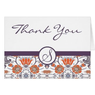 Vintage Orange and Purple Swirly Floral Thank You