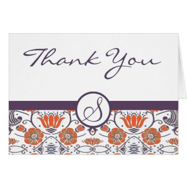 Professional Business Vintage Orange and Purple Swirly Floral  Thank You Card