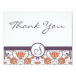 Vintage Orange and Purple Swirly Floral Thank You Custom Invitations