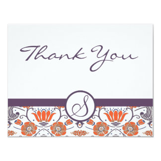 Vintage Orange and Purple Swirly Floral Thank You Custom Invitations