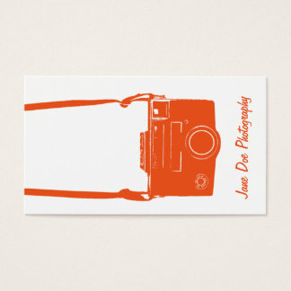 Vintage Orange and White Camera Business Card