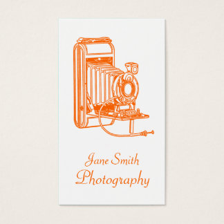 Vintage Orange and White Old School Film Camera Business Card
